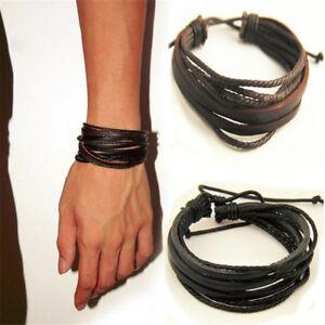 Mens Boys Handmade Leather Braided Surfer Wristband ...
