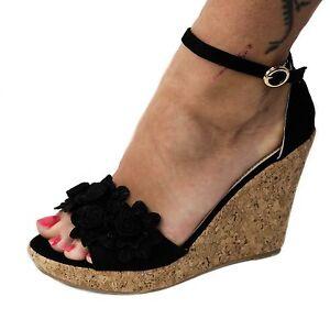 damen sandalen sandaletten keilabsatz plateau wedge neu schwarz gr 40 b29 ebay. Black Bedroom Furniture Sets. Home Design Ideas