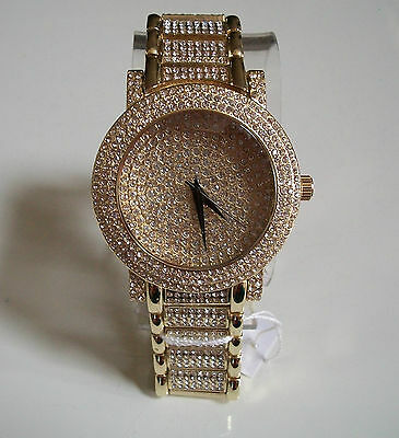 Mens big hip hop  Bling clubbing gold finish TECHNO PAVE rapper style watch