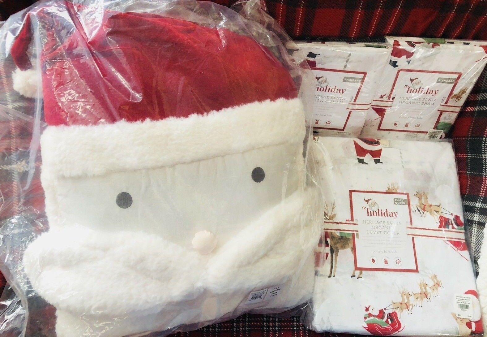 Pottery Barn Kids Heritage Santa COTTON FULL QUEEN Duvet Shams Pillow Christmas