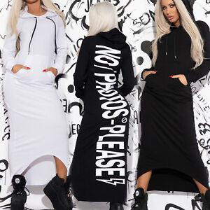 By-Alina-Mexton-Damenkleid-Hoodie-Kleid-Maxikleid-Longpullover-Schwarz-Weiss-XS-M
