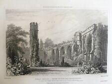 1829 Print; Wells Palace, ruins of Old Hall & Chapel, Somerset