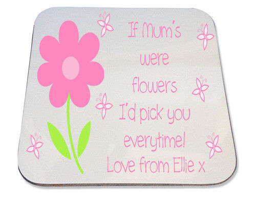 nan mom Flower quote design Personalised Printed Coaster Mothers Day gift