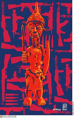 Political cuban poster.African God Warrior.Africa.a52.Socialist History art