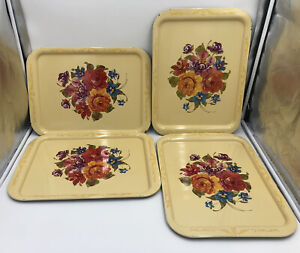 Floral Metal Tray Vintage Set Of 4 Pale Yellow With Flowers TV Trays