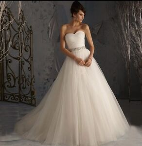Uk whiteivory tulle wedding dress bridal gown size 6 22 ebay image is loading u k white ivory tulle wedding dress bridal gown junglespirit Images
