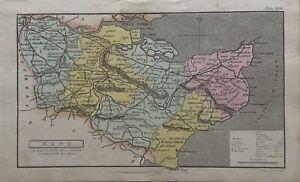 1808 Kent originale antico colorato a mano Contea di carta 212 anni