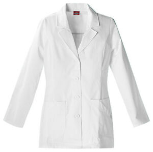 Scrubs-Dickies-Women-039-s-Fashion-Lab-Coat-White-84405-FREE-SHIPPING