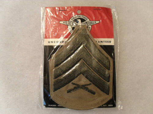 VIETNAM ERA USMC SGT CHEVRON TAN TWILL OBSOLETE STYLE SEALED IN ORIGINAL BAG