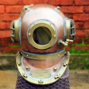 Antique Finish Boston Scuba Divers Diving Helmet U.S Navy Mark V Deep Sea Marine
