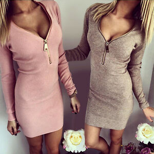 V-Zip-Langarm-Herbst-Mini-Bodycon-Party-Kleid-Clubwear-Abendkleid-Tunika-BC236