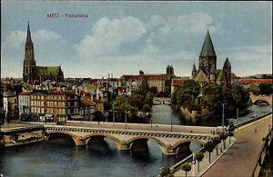 Metz-Lothringen-Frankreich-Color-AK-1942-gelaufen-Teilansicht-Panorama-Bruecke
