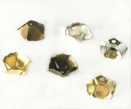 pls pick a color 12pc 11x5mm brass made flower bead caps