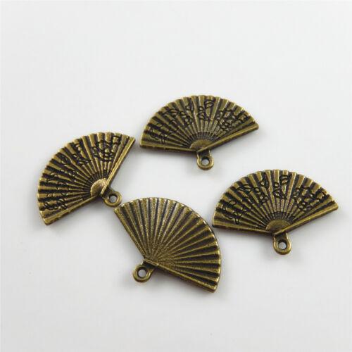 40pcs Vintage Bronze Alloy 23x18x1mm Tiny Fans Pendants Charms Jewelry Crafts