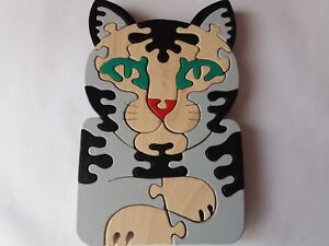 Wooden-Puzzle-Chat-Handmade-Wild-Pussy-Animal-Chat-Felin-Animal-massif-HETRE