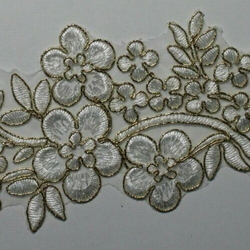 disponible 20 Colores 1 X Novia Adorno Floral Con Cable de boda de encaje y apliques #42