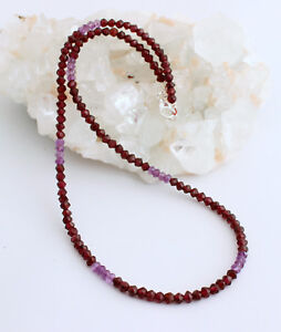 Natural Garnet Chain With Amethyst Precious Stone Necklace Faceted Necklace New