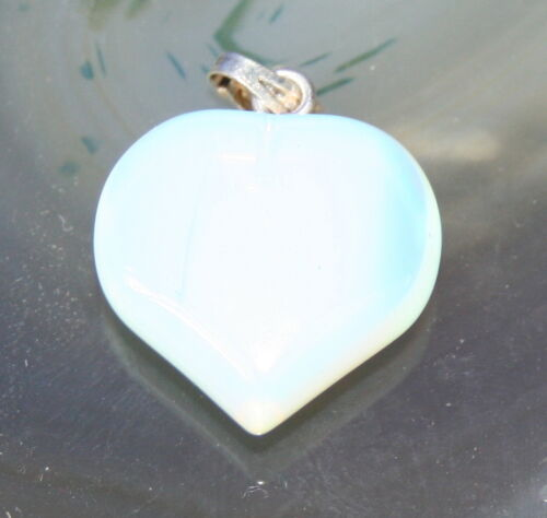 Silver Plated Opal Crystal Gemstone Fat Heart Pendant Reiki Blessed Gift Bag