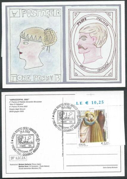 2003 Italia Cartolina Esposizione Filatelica Abruzzophil - F4