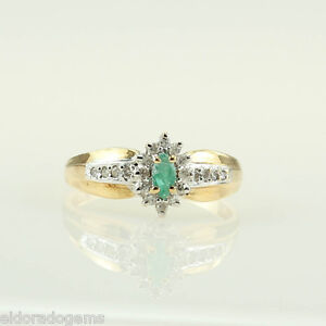 LADY-S-MARQUISE-EMERALD-0-35-CT-DIAMOND-COCKTAIL-RING-14K-YELLOW-WHITE-GOLD-US7