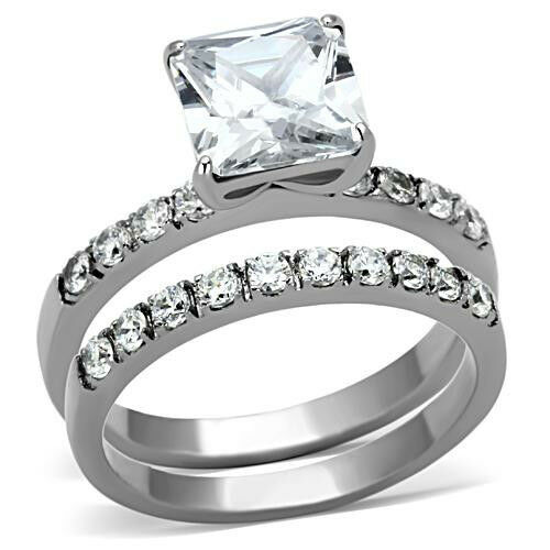 Princess Wedding Ring Set Engagement and Band Womens CZ Stainless Steel