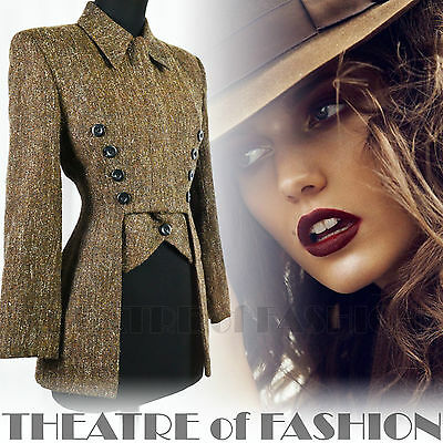 VINTAGE KAREN MILLEN CORSET TAILCOAT RIDING COAT JACKET TWEED VICTORIAN 40s 30s