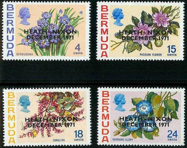 BERMUDA - 1971 - QE II - FLOWERS - HEATH / NIXON MEETING - OVPT - MINT - SET!
