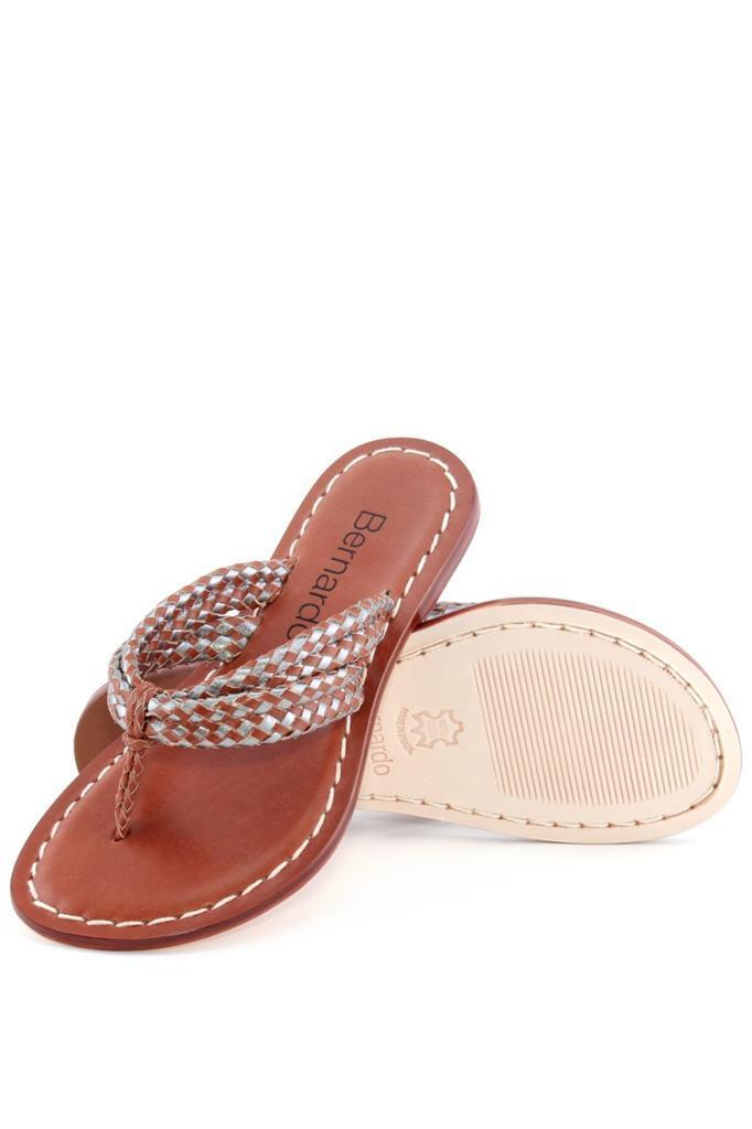 Wouomo Bernardo Miami Woven Sandal PECAN STEEL Camel Thong Flip Flops scarpe NEW