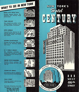 Hotel Map Of New York City.Details About Hotel Century New York City Vintage Brochure Circa 1950 S Street Map B W Photos