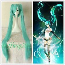 Green 120cm Long Party Vocaloid Hatsune Miku 2 Ponytails Cosplay Hair Full Wig