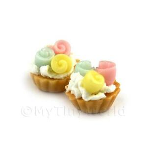 4x Casa de Muñecas en Miniatura Suelto Hecho a Mano Naranja tartas de chocolate