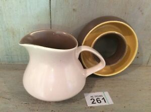 Poole-Pottery-Milk-Jug-And-Flower-Ring-Glazed-in-Twintone-C107