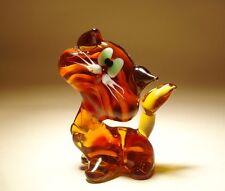 "Blown Glass ""Murano"" Art Figurine Animal Brown and Orange Striped Cat"