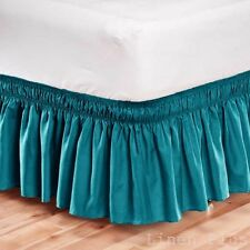 Elastic Bed Skirt Dust Ruffle Easy Fit Wrap Around Turquoise Color Twin Size