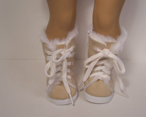 """Debs KHAKI Tennis Hi-Top Faux Fur Knee Boots Doll Shoes For 18/"""" American Girl"""