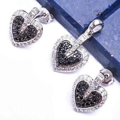 "BEAUTIFUL BLACK & WHITE CZ HEART .925 Sterling Silver Pendant & Earring Set .75"""