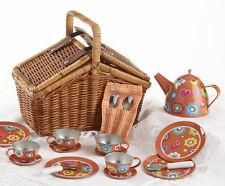 Children's Tin Tea Set for 4-Medium Size-Hearts & Flowers-Brown Basket #8114-5