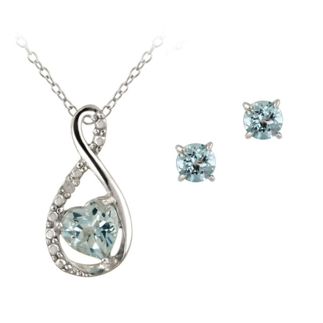 925 Silver 1.5ct Blue Topaz & Diamond Accent Infinity Heart Necklace Earring Set