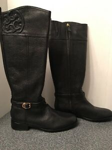 d37284db22d4 NIB Tory Burch Marlene Riding Boot Tumbled Black Leather 22148399 ...