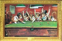 Dogs Playing Pool Poster - Billiards Full Size 24x36 Print Cm Coolidge Art