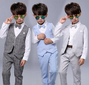 08c191cd1ae2 Baby Kid Boys Suits 4Pcs Formal Toddler Waistcoat Suit Wedding Party ...