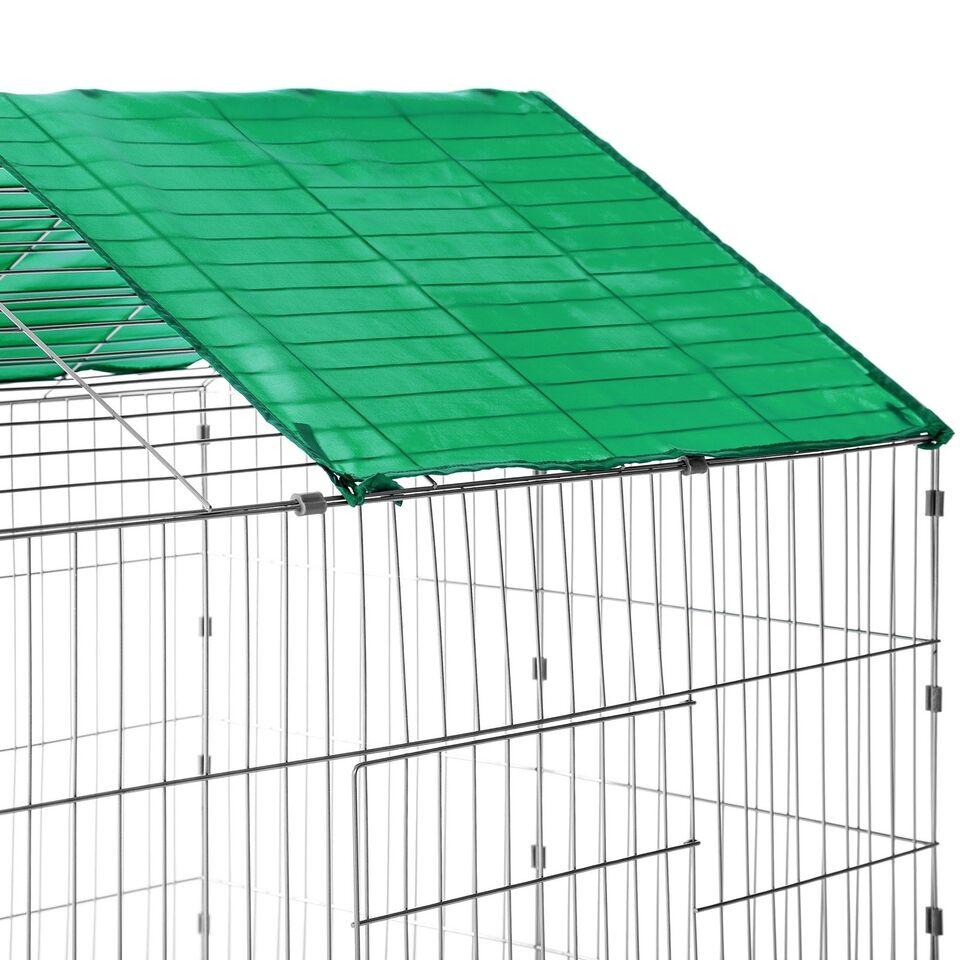 Udendørs kaninbur med solafskærmning grøn