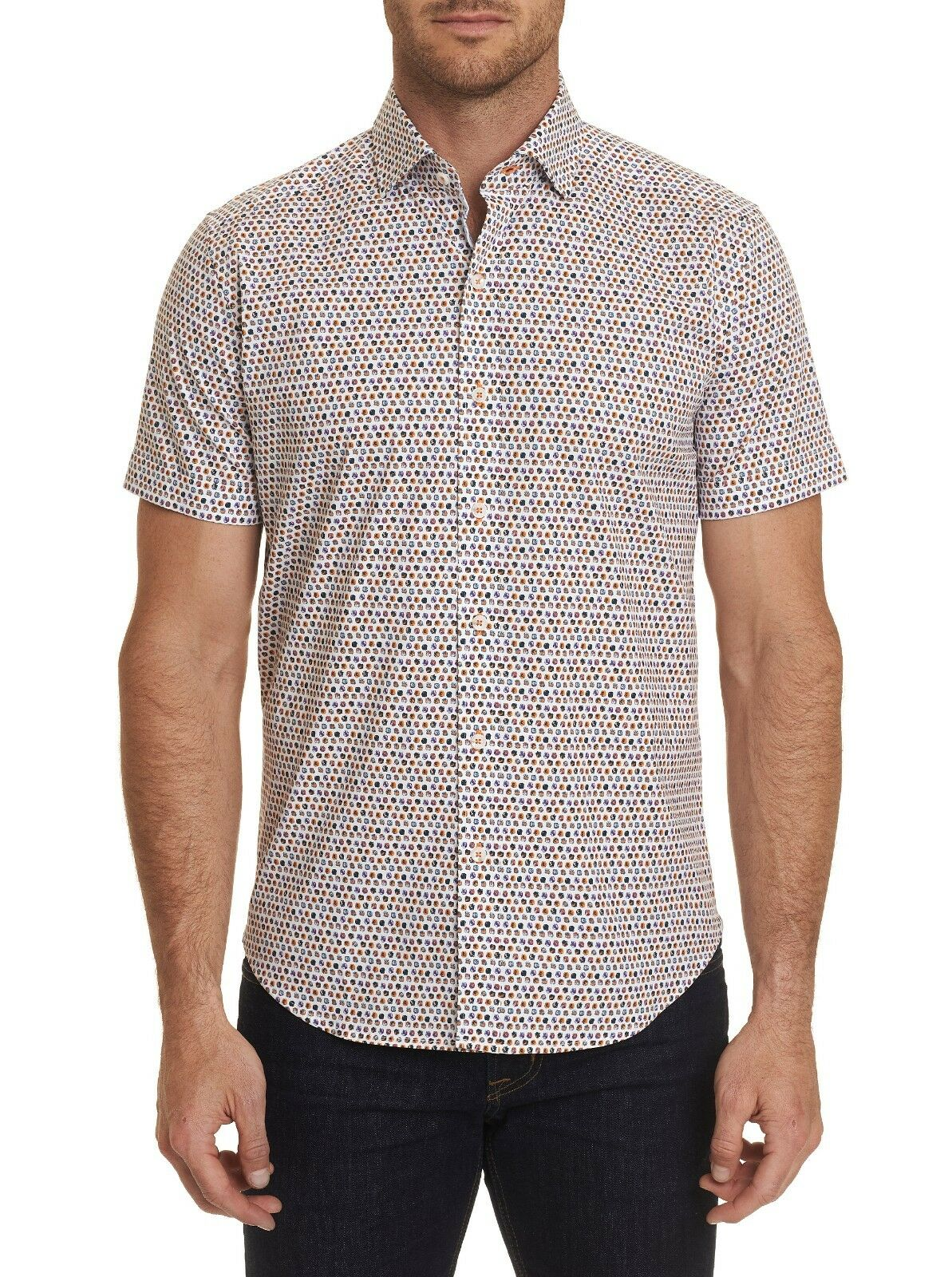 ROBERT GRAHAM CROSSPOINTE MULTIcolorD POLKA DOT S S SHIRT TAILORED FIT  NWT