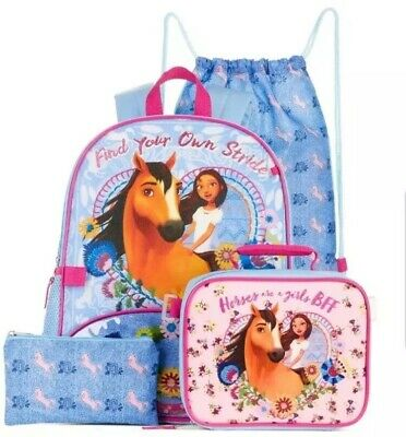 ~ Spirit Riding Free Backpack Lunch Box Bag ~ NEW Lucky Horse ~ 5 PIECE SET