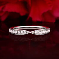 Diamond Wedding Ring band 0.25 Carat Round Cut 14k White Gold French pave