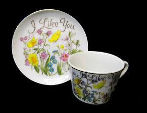 """""""I Like You"""" Decorative Display Tea Cup Souvenir Teacup; Butterfly Made in Japan"""