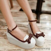Womens Platform Lolita Sweet Bowknot Cosplay Shoes Wedge Heel Ankle Strap Shoes