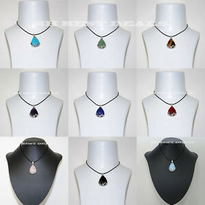 Gemstone-Quartz-Teardrop-Flower-Wrapped-Pendant-Leather-Chain-Choke-Necklace