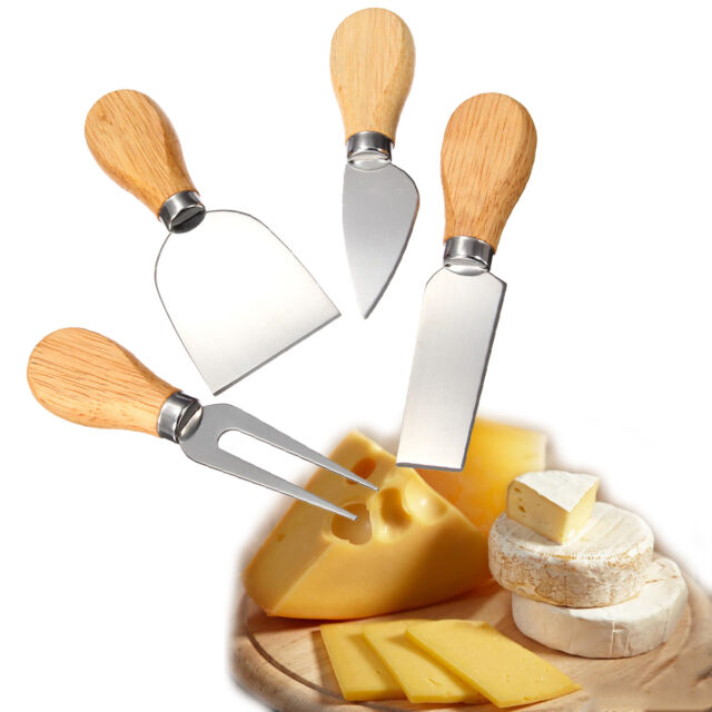 4Pcs Stainless Oak Wood Handle Cheese Butter Blade Fork Knives Set Kitchenware