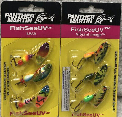 2 Panther Martin UV3 FishSeeUV Spinner Assorted 3//Pack 6 Spinners Total 3F